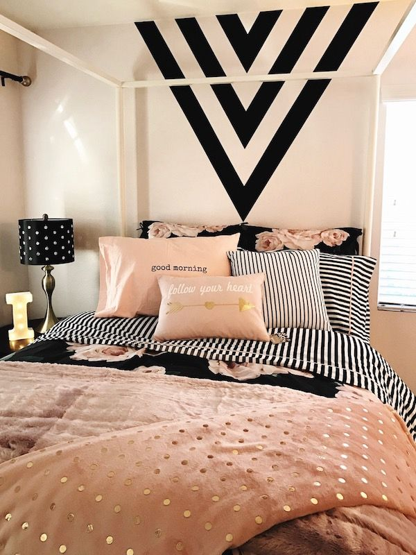 Pink And Black Bedroom Designs Mesmerizing Laura Lochrin Interiors Bedroom Black Arrows Pink Bedding Canopy 2018