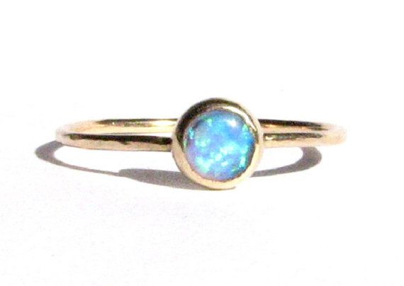 Thin Gold Ring- Opal Engagement Ring Stacking Ring Opal 14k Solid Gold Ring Blue Ring- Made To Order. Opal Ring- Opal gold