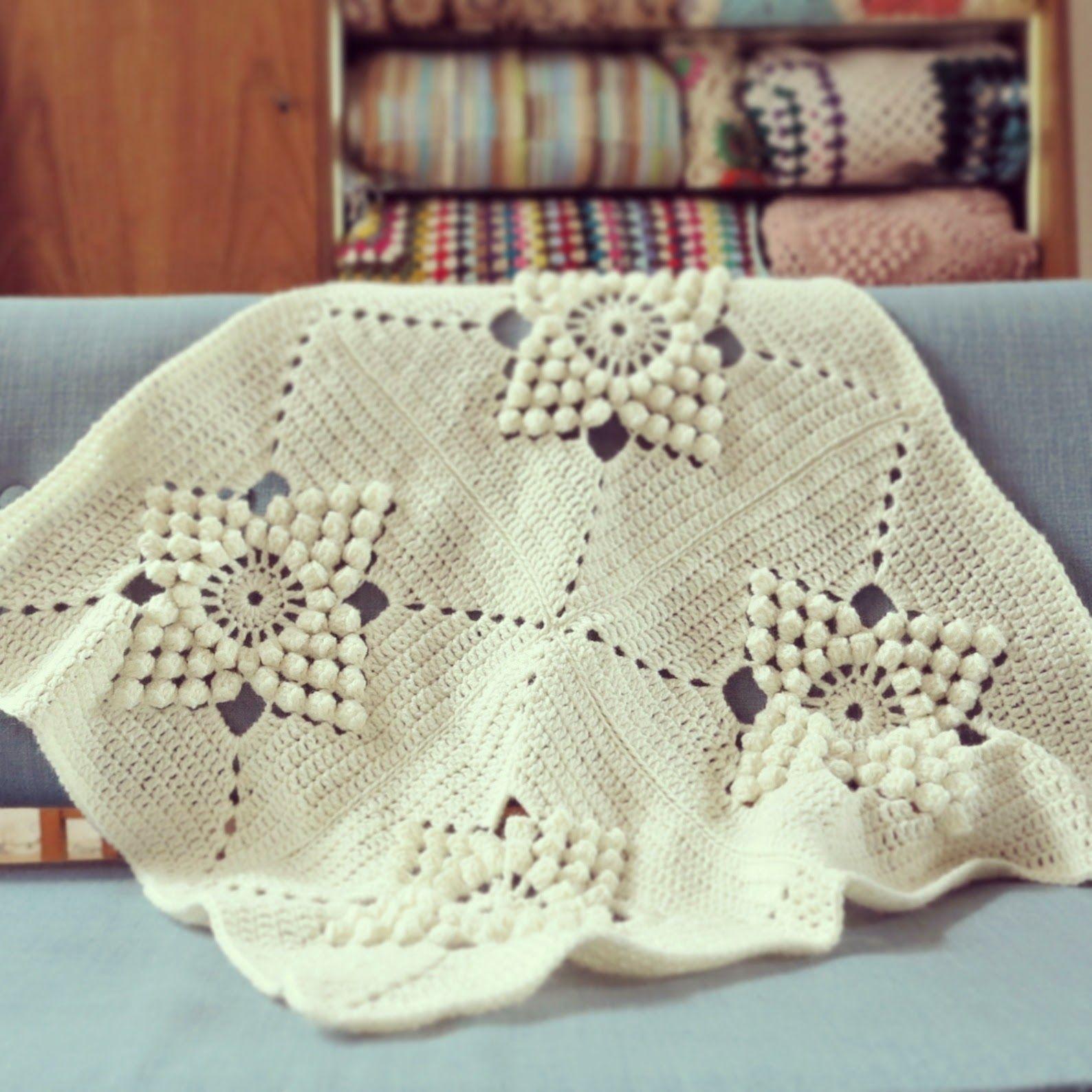 ByHaafner, crochet, vintage pattern, popcorn stitch, crochet blanket ...