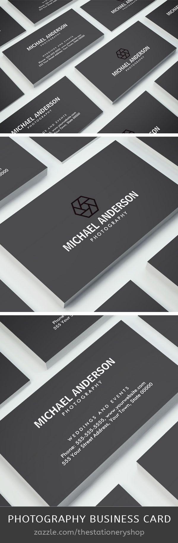 Modern dark gray photography business card pinterest cartes de modern dark gray photography business card pinterest cartes de visita visita e carto reheart Choice Image
