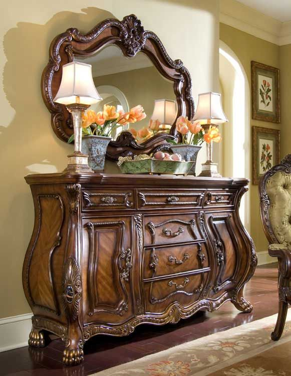 Aico chateau beauvais sideboard and mirror beautifully - Chateau beauvais living room furniture ...
