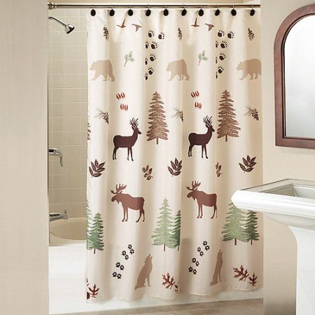 Silhouette Lodge Shower Curtain With Bonus Hooks Beige