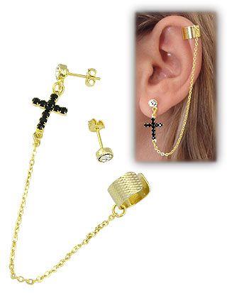 3c899207339 Brinco EAR CUFF folheado a ouro c  cruz em strass e correntinha Código   BS2299