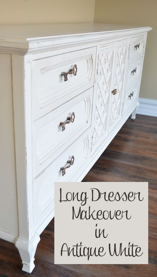 Best Long Antique Dresser Makeover In White White Painted 400 x 300