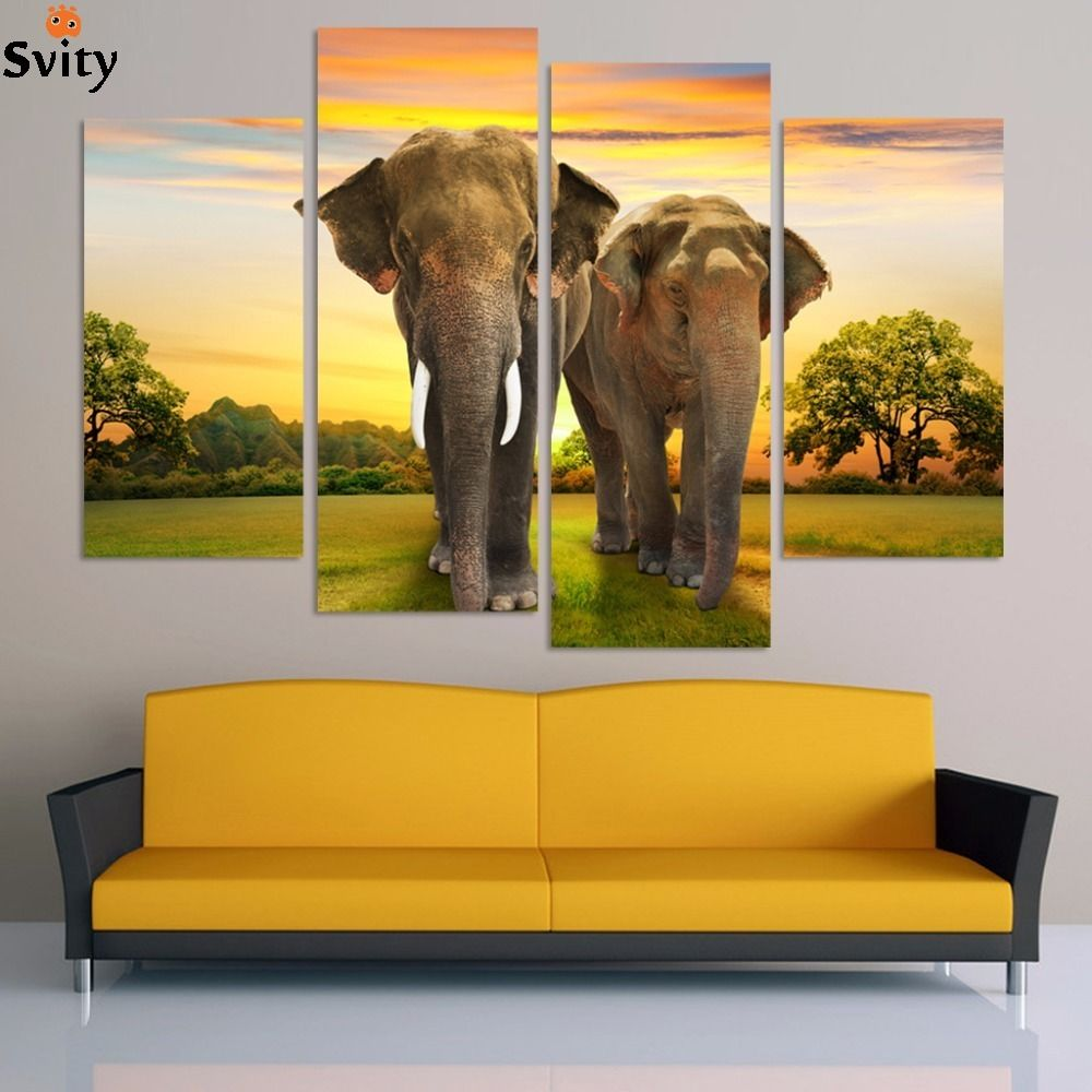 4pcs Free Shipping Elephant Morden Abstract Oil Painting Painted ...