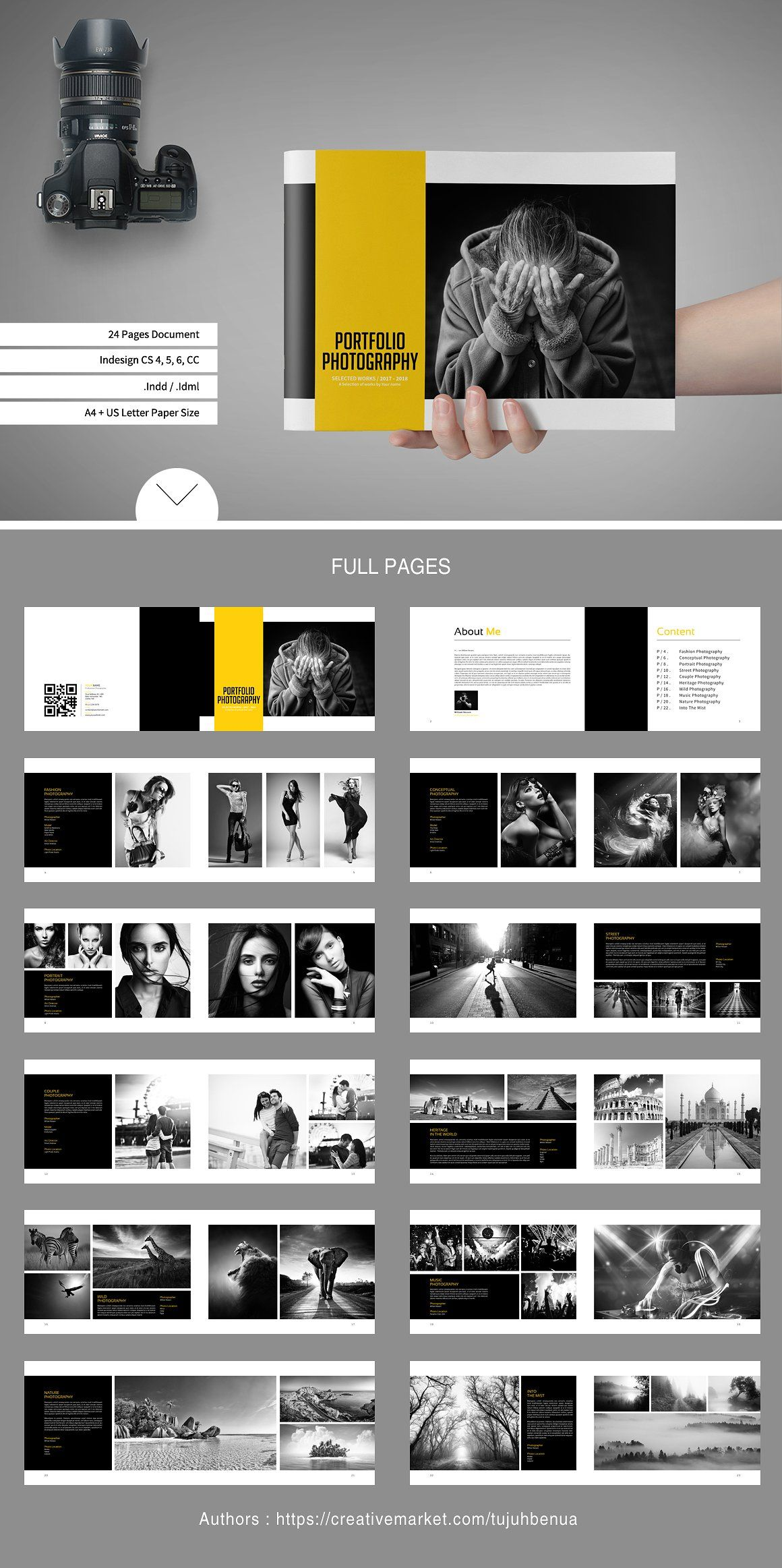 simple portfolio photography brochures photobook template lookbook instagram overlay diy. Black Bedroom Furniture Sets. Home Design Ideas