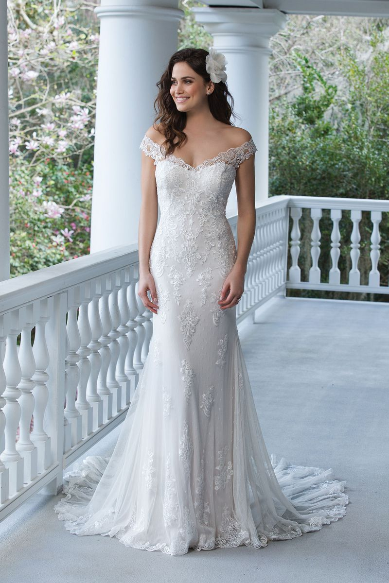 55+ Off the Shoulder Fit and Flare Wedding Dress - Best Wedding ...
