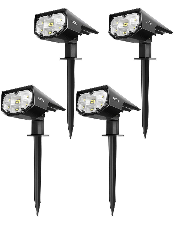 LITOM 12 LED Solar Landscape Spotlights, IP67 Waterproof