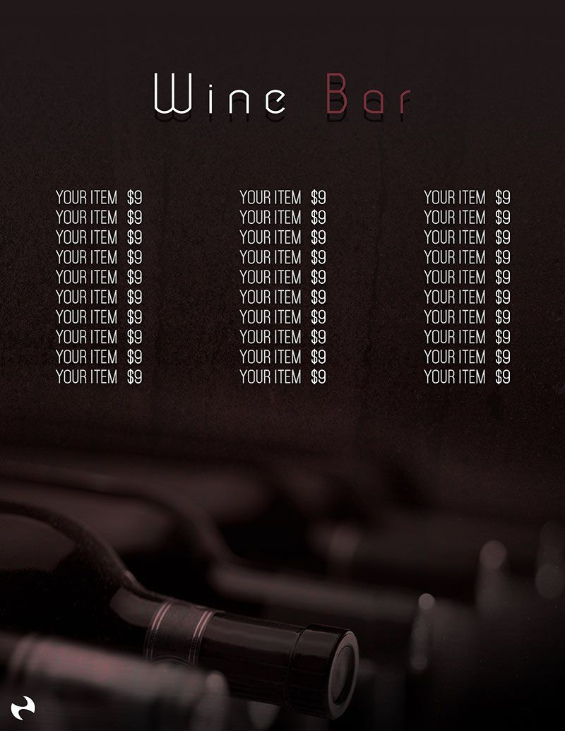 Free Wine Bar Menu Template  Design Freebies    Menu