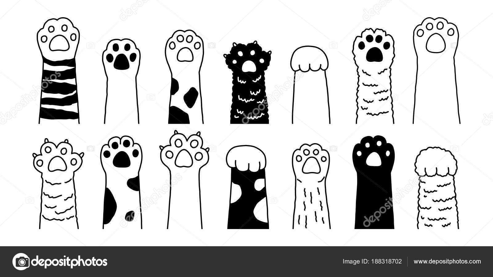 Cat Paw Vector Dog Paw Cat Breed Vector Doodle Illustration Stock