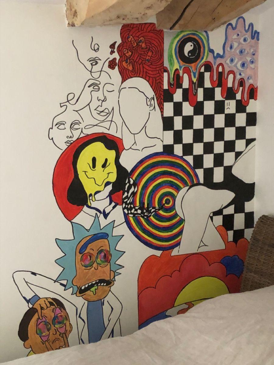 Aesthetic Bedroom Artsy Art Wall Murals Bedroom Bedroom Wall Paint Hippie Painting