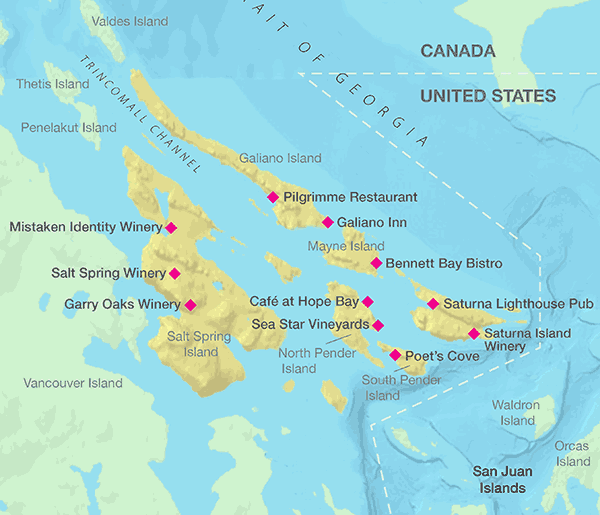 Canadian Gulf Coast Islands Map Island Vancouver Island