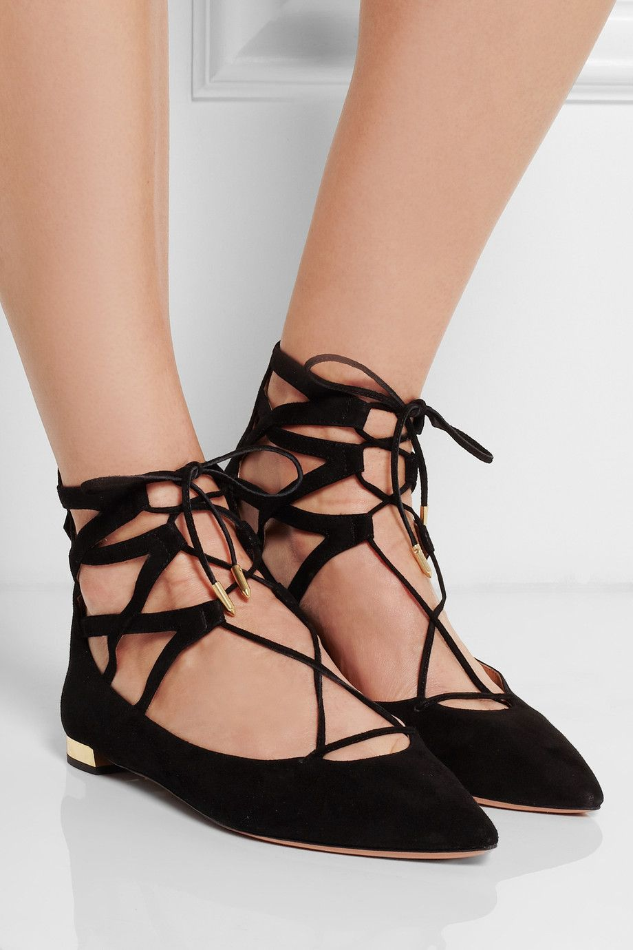 ca94a9ce1b622 Aquazzura   Belgravia lace-up suede point-toe flats   NET-A-PORTER ...