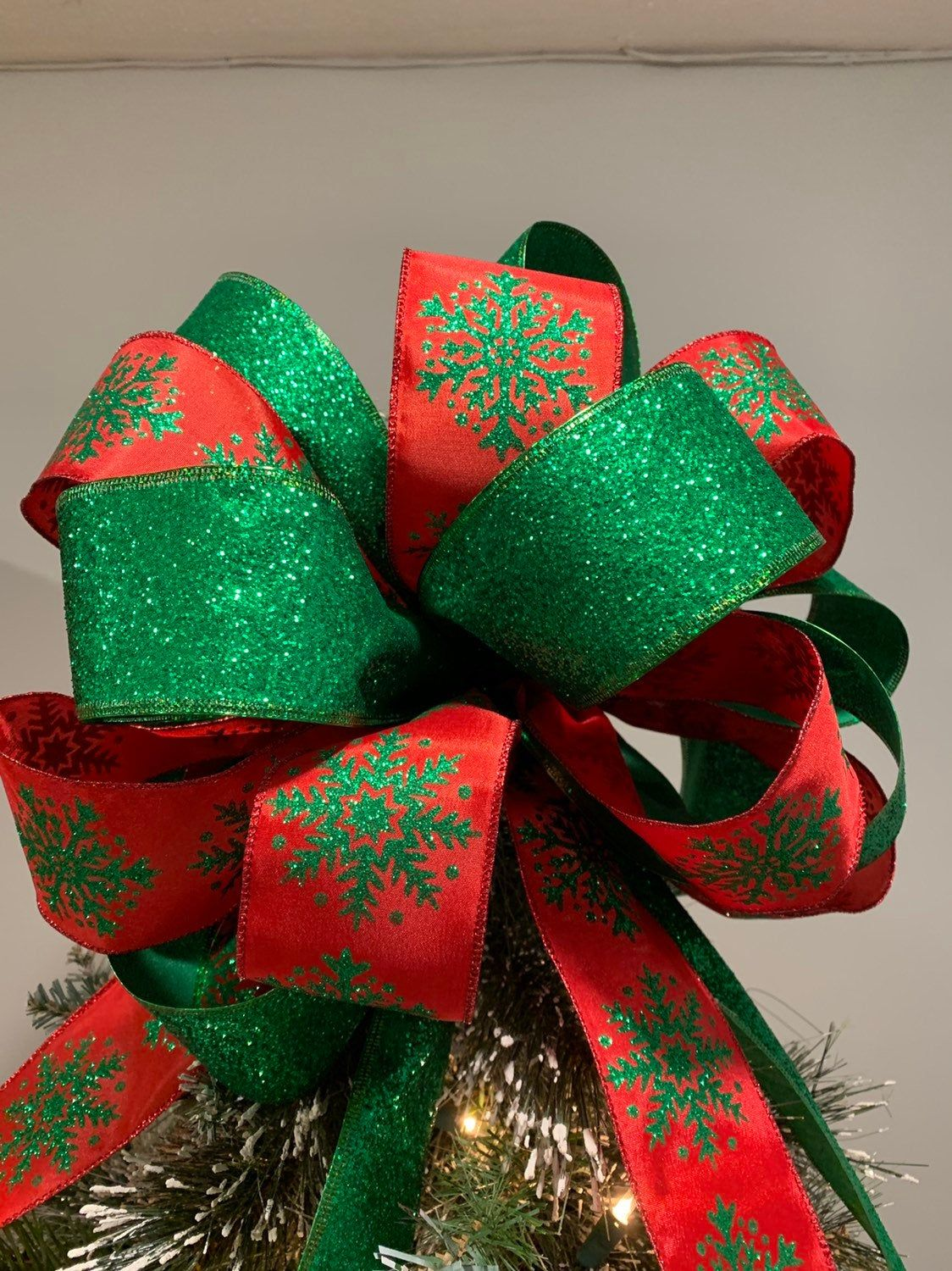 Large Christmas tree topper bow red Ribbon with green