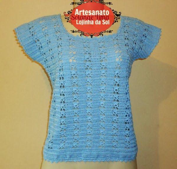 Artesanato Lojinha da Sol: Blusa de crochê, com gráfico