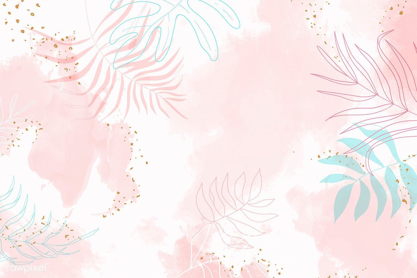 Pink Leafy Watercolor Background Vector Premium Image By Rawpixel Com Aum In 2020 Watercolor Desktop Wallpaper Pink Wallpaper Laptop Watercolor Background
