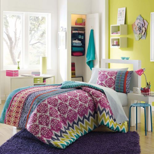 Riley 8 PC Chevron Medallion Twin Twin XL Comforter Sheets Dorm Pink  Turquoise | EBay