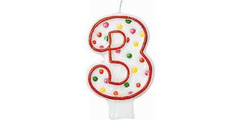 Number 3 Polka Dot Birthday Candle