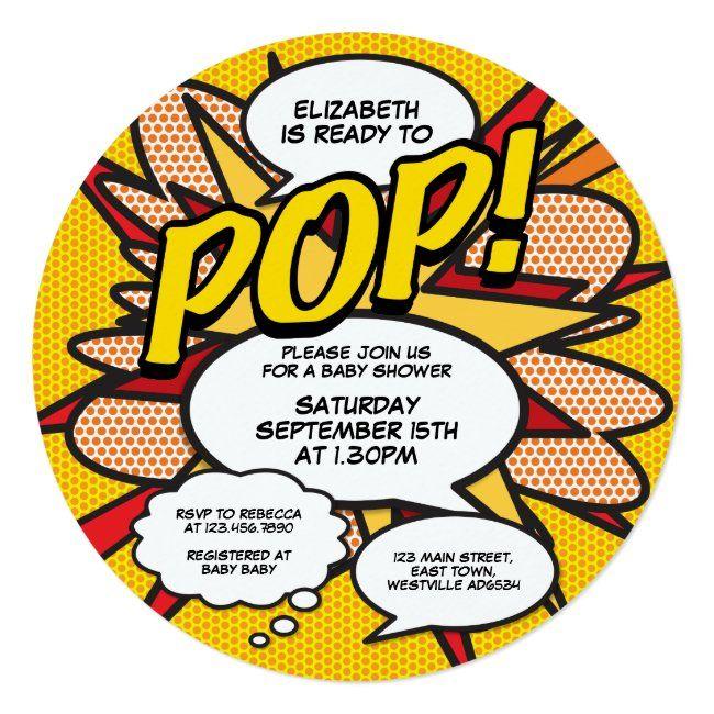 Ready to Pop Baby Shower Photo Fun Retro Comic Inv