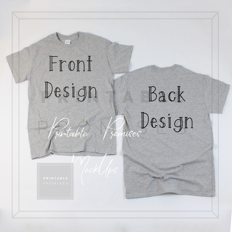 Download Front Back Sport Grey Gildan 500 Shirt Mock Up Male Mock Up Etsy Matching Shirts Shirts Black Shirt