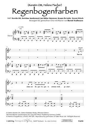 Regenbogenfarben (vierstimmig) für gemischten Chor Ein