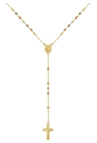 14k Yellow, White and Rose Gold Rosary Necklace Pendant Necklace, 17 $315.00 (save $525.00) + Free Shipping