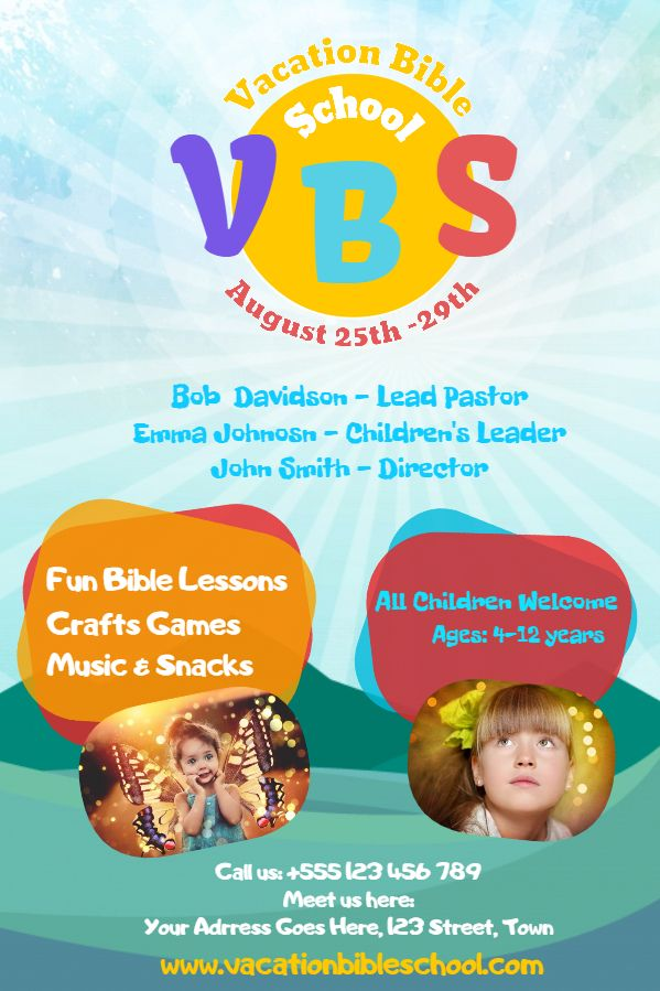 Vacation Bible School Announcement Poster Template  Church Event