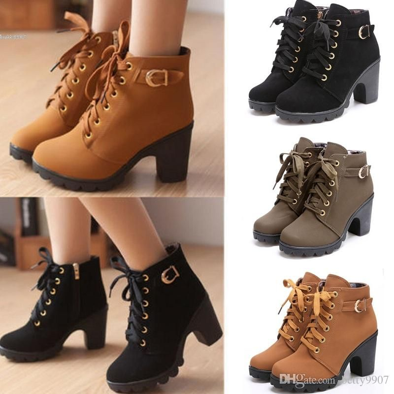 Women's Zip Laces High Heel Ankle High Short Boots
