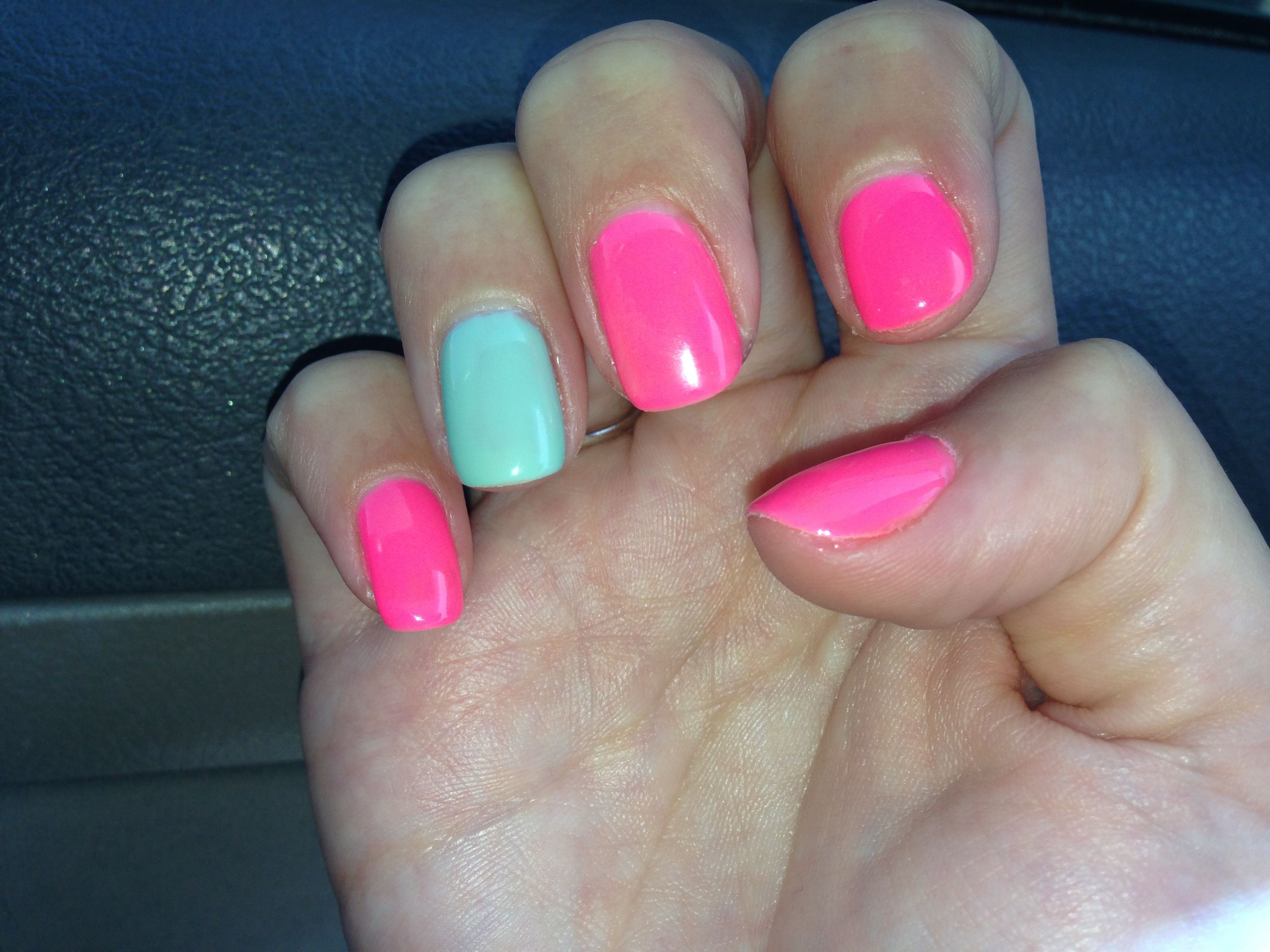 pink and mint gel nails love
