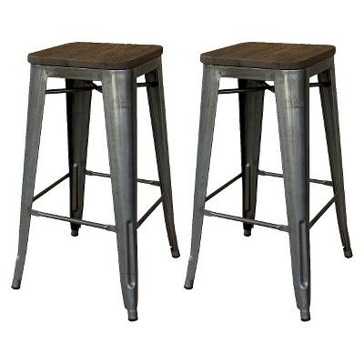 Enjoyable Hampden Industrial 24 Counter Stool Natural Metal Set Of Caraccident5 Cool Chair Designs And Ideas Caraccident5Info