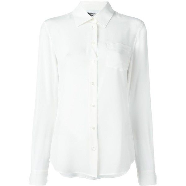 bee20c2b5d Moschino classic button-down blouse ( 335) ❤ liked on Polyvore featuring  tops