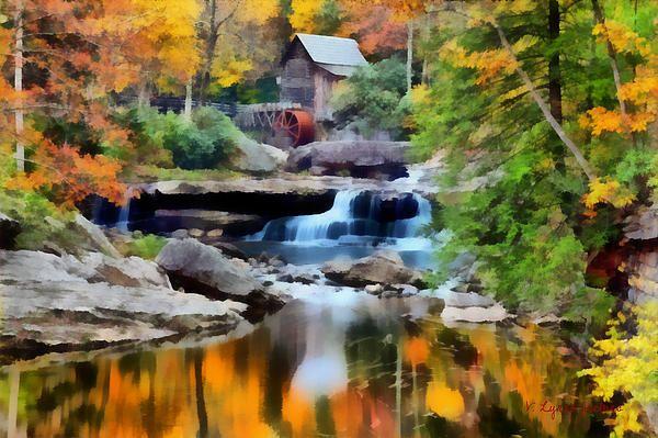 Grist Mill In Autumn By Lynne Jenkins West Virginia Waterfalls Virginia Waterfalls Virginia Fall