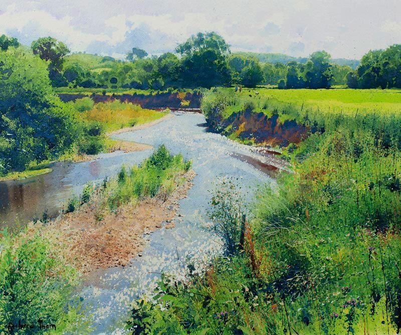 Richard Thorn (British, 1952-) > Along the meadow path   Watercolour, 53 x 63 cm