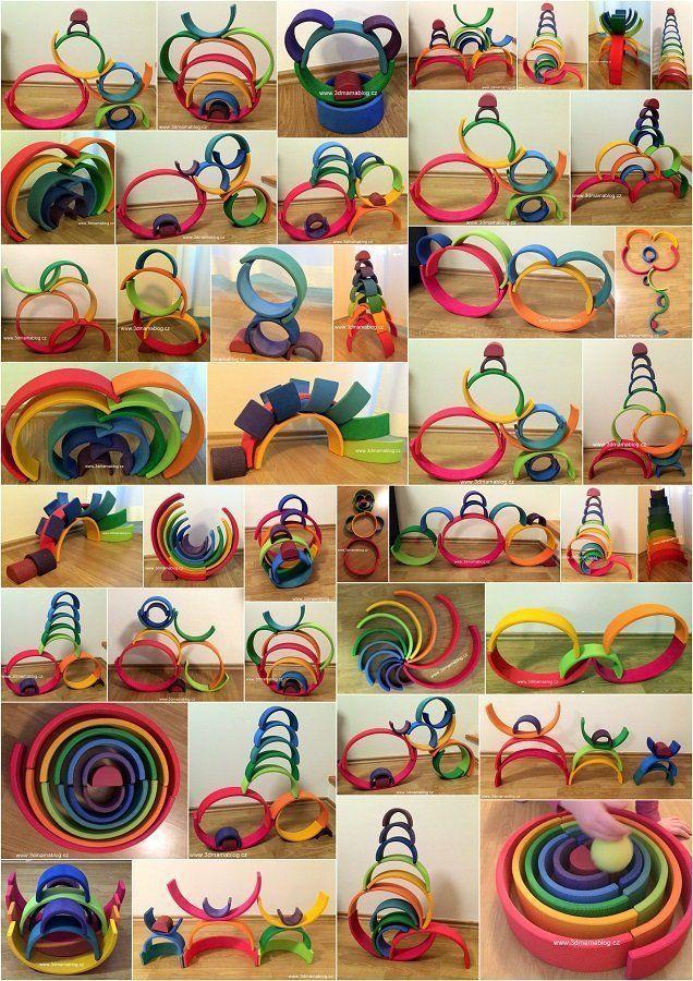Photo of Alles, was ein Kind mit einem Grimm's Rainbow-Stapler bauen kann. Ich möchte ei…