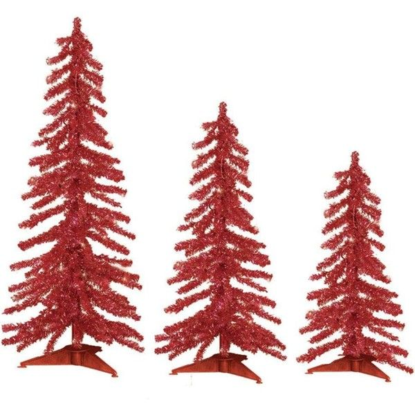 Sterling, Inc 2-3-4 ft Pre-Lit Red Tinsel Alpine Artificial