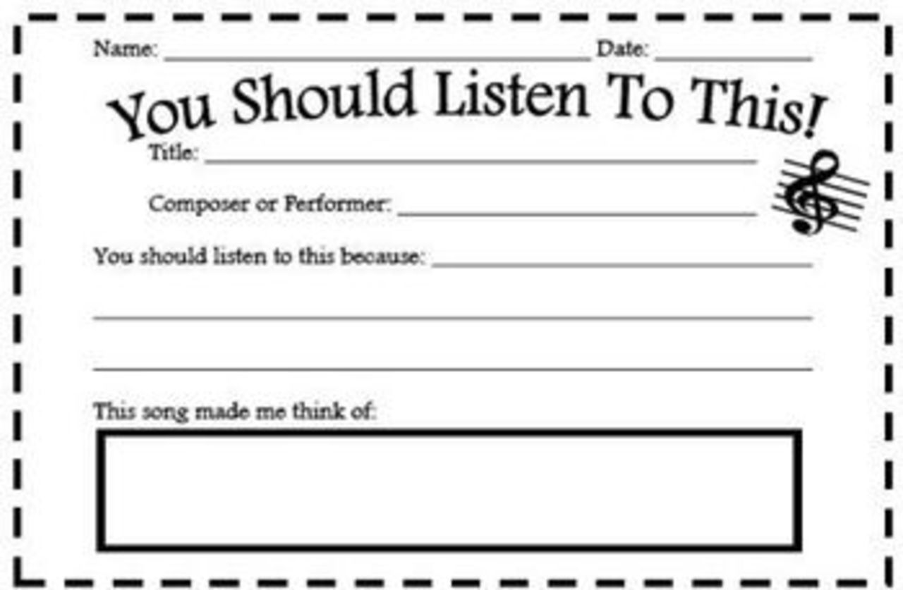 "FREE! Encourage listening to different music with your students with this free printable  ""You Should Listen To This!"" I actually might print this and have my students give them to me - that would be a great way to find out what they are listening to!"
