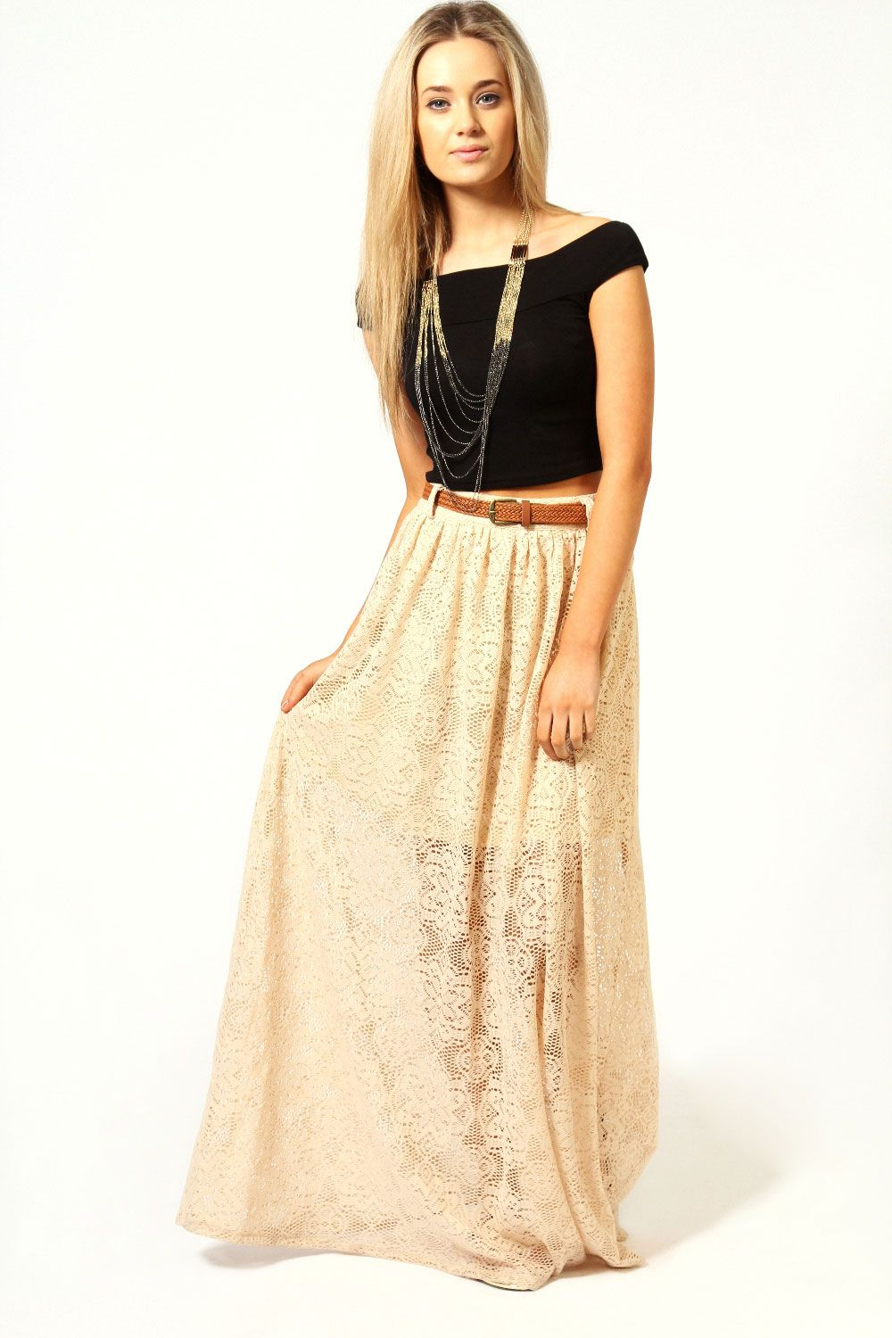 Jess all over crochet belted maxi skirt clothing u fashion