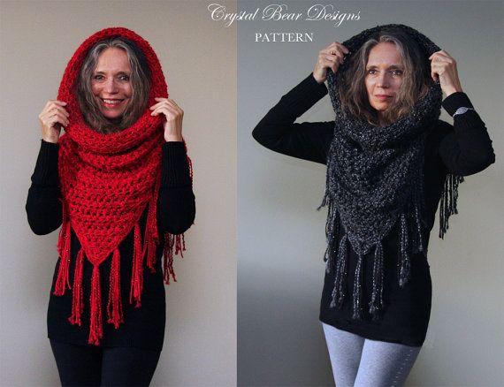 Hooded Cowl Crochet Pattern Mini Fringed Poncho Athena Hooded