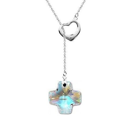 Fashion Swarovski Element Crystal Cross Pendant Silver Heart Chain Cheap Womens Necklace DC69N3806 $17.25