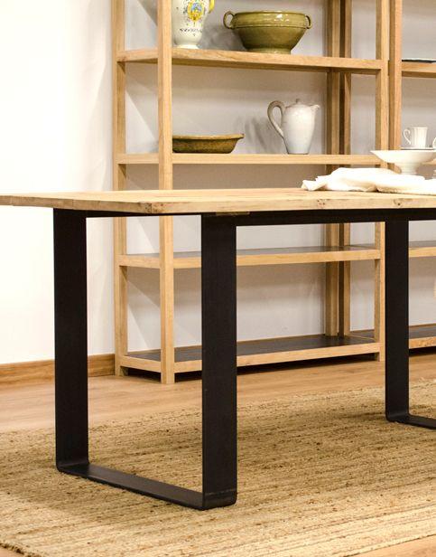 Mesa de comedor de madera maciza de aliso y pletina de acero #dining