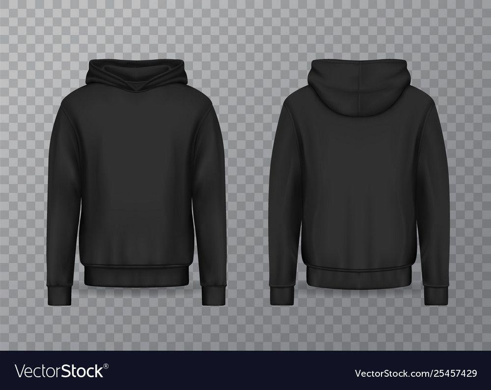 Download Realistic Men Hoodie Or Black 3d Hoody Sweatshirt With Blank Black Hoodie Template Cumed Org Baju Kaos Pakaian Kaos