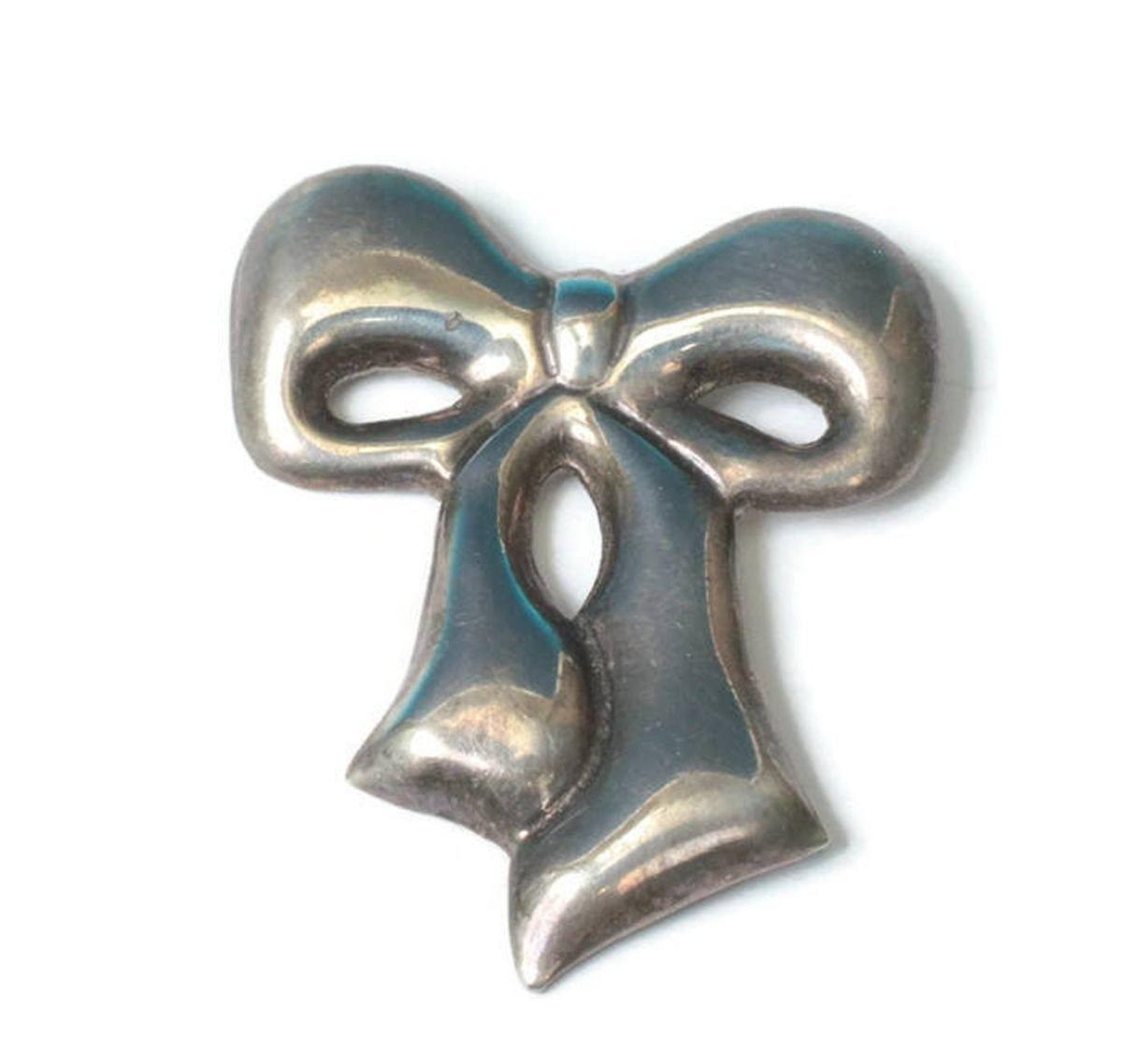 Vintage Silver Ribbon brooch Sterling Silver Bow Brooch Silver Bow Brooch Tube Clasp Vintage 925 Sertling Silver Bow Brooch