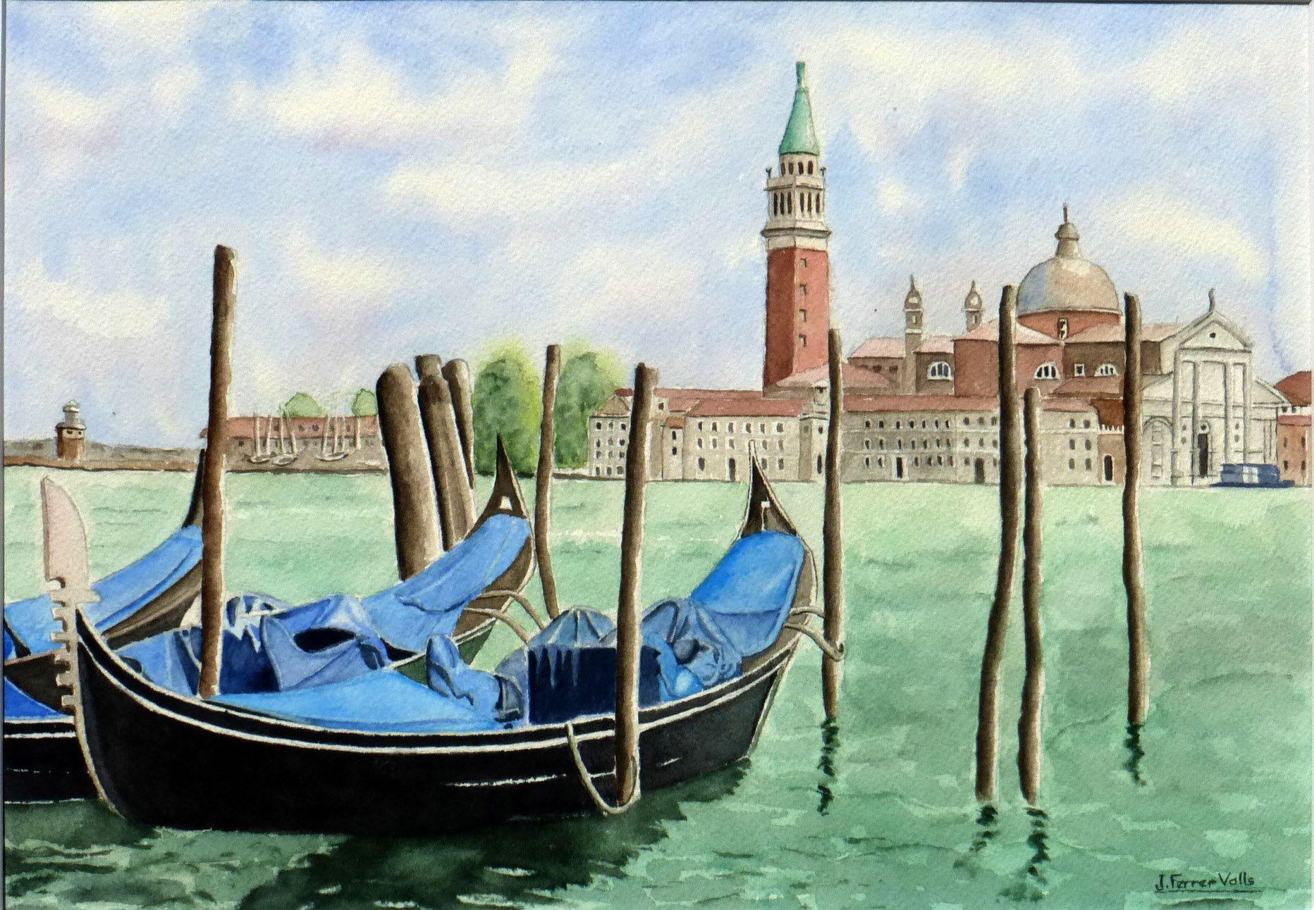Gondoles A Venise Venise Gondole Venise Peinture Aquarelle