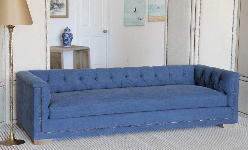 SF129LA: Blue Denim Sofa With Natural Nailhead Trim And Reclaimed Block  Legs (1)