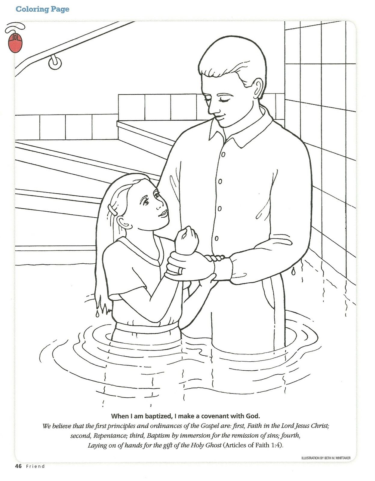 Primary 2 Lesson 12 Lds Coloring Pages Baptism Girl Lds Baptism