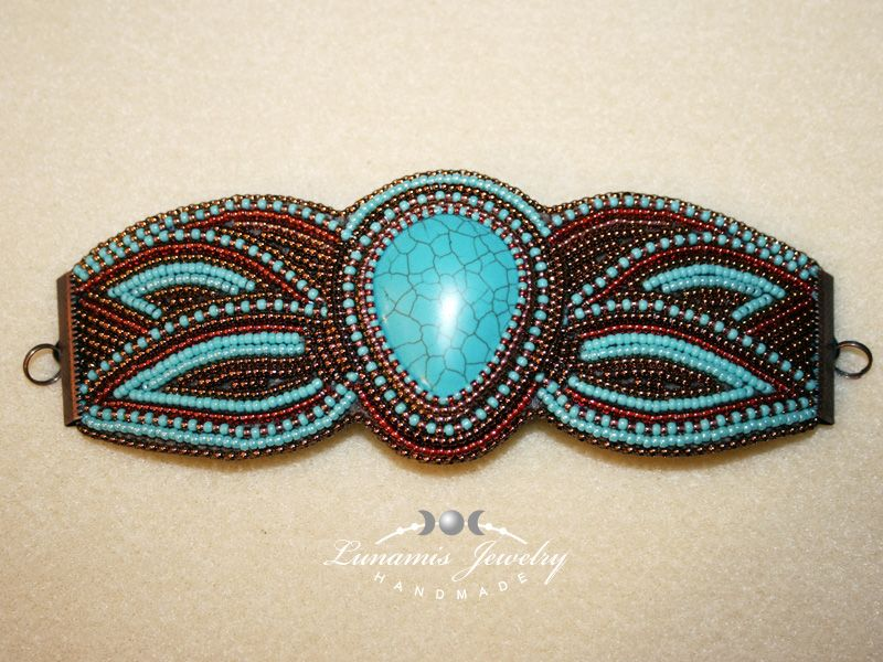 bracelet, embroidery, beading, toho, handmade, jewelry