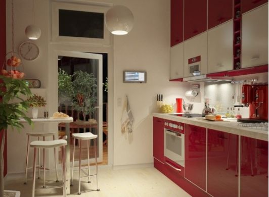 Kitchen with red cabinets - Home and Garden Design Ideas
