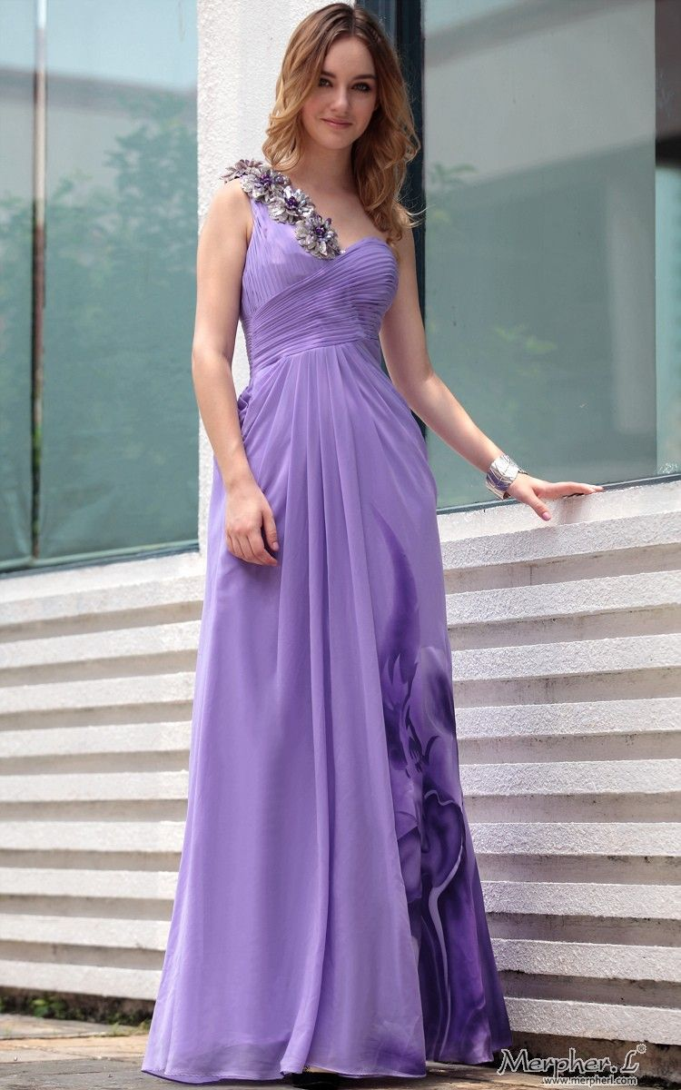 Purple One Shoulder Beaded Floral Print Floor Length Gowns Evening