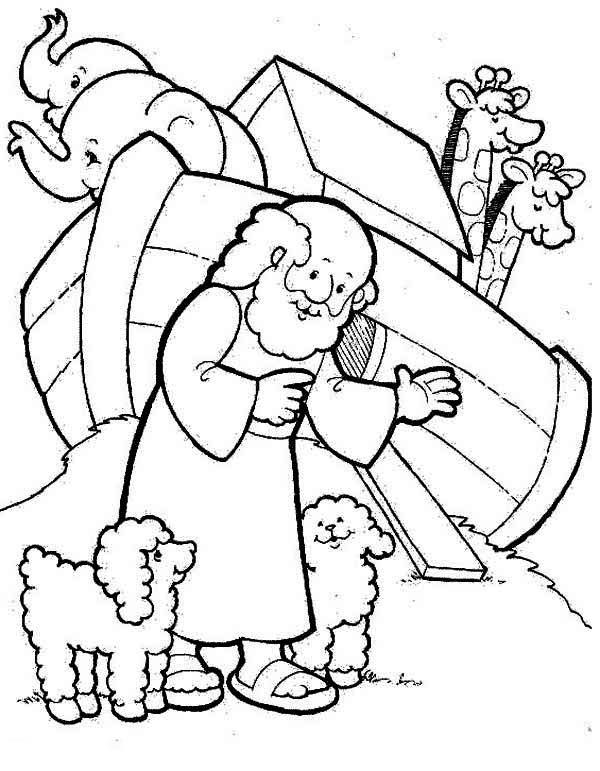 Two Cute Sheeps And Noah In Front Of Noahs Ark Coloring Page Sunday School Coloring Pages Noahs Ark Preschool Preschool Coloring Pages