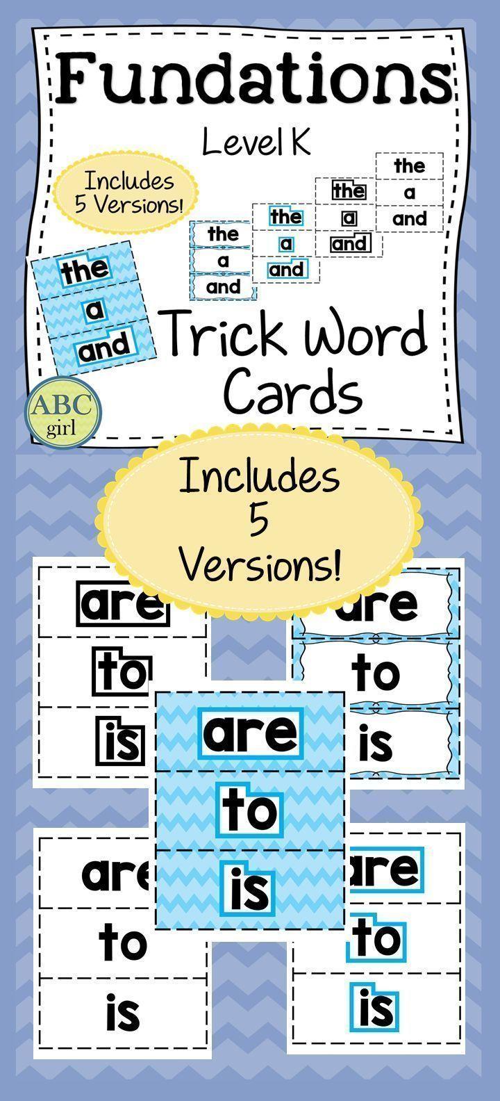 Kindergarten FUNDATIONS Level K Trick Word Cards | Kindergarten ...